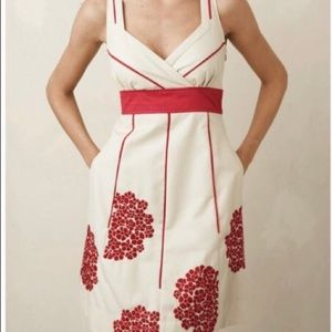 Floreat red geranium embroidered dress